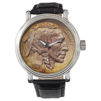Vintage Indian Head Nickel Coin Native American Watches