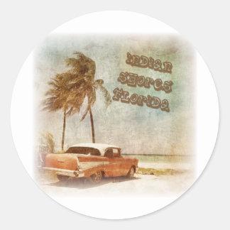 Vintage Indian Shores Beach Scene Round Sticker