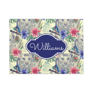 Vintage Indian Style Tiger Pattern | Add Your Name Doormat