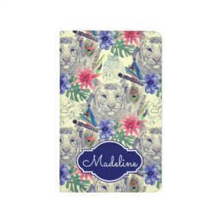 Vintage Indian Style Tiger Pattern | Add Your Name Journals