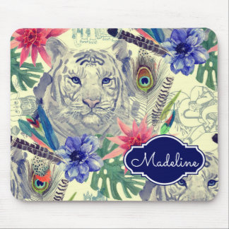 Vintage Indian Style Tiger Pattern | Add Your Name Mouse Pad