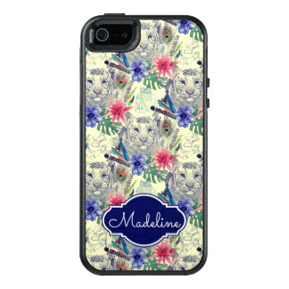 Vintage Indian Style Tiger Pattern | Add Your Name OtterBox iPhone 5/5s/SE Case