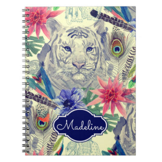 Vintage Indian Style Tiger Pattern | Add Your Name Spiral Note Book