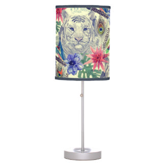 Vintage Indian Style Tiger Pattern Table Lamps