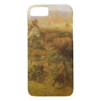 Vintage Indians, Buffalo Hunt by CM Russell iPhone 8/7 Case