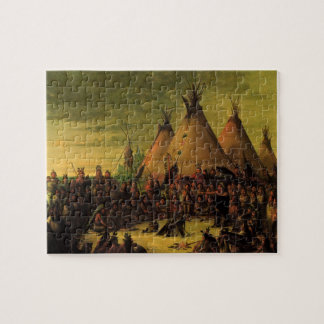 Vintage Indians, Sioux War Council by Catlin Jigsaw Puzzle