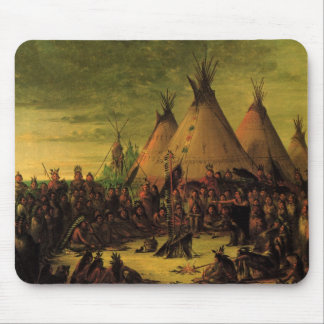 Vintage Indians, Sioux War Council by Catlin Mouse Pad