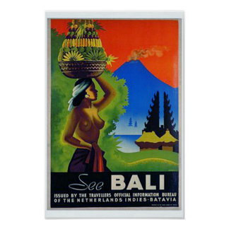 Vintage Indonesia Bali Travel Poster