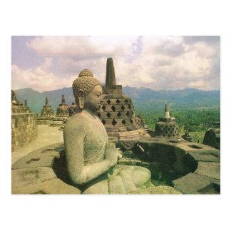 Vintage Indonesia, Borobodur temple Postcard