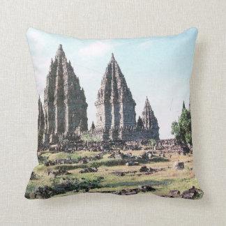 Vintage Indonesia,  Java, Prabanam Hindu temple, Throw Pillow