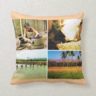 Vintage Indonesia,  Java,  traditional lifestyle Throw Pillow