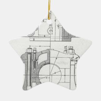 Vintage Industrial Mechanic's Graphic Ceramic Star Ornament