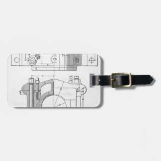 Vintage Industrial Mechanic's Graphic Luggage Tag