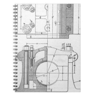 Vintage Industrial Mechanic's Graphic Notebook