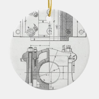 Vintage Industrial Mechanic's Graphic Round Ceramic Ornament