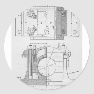 Vintage Industrial Mechanic's Graphic Round Sticker