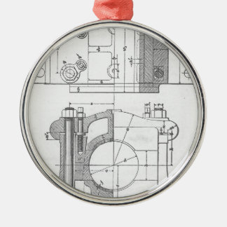Vintage Industrial Mechanic's Graphic Silver-Colored Round Ornament