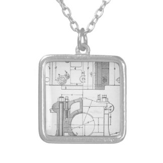 Vintage Industrial Mechanic's Graphic Silver Plated Necklace
