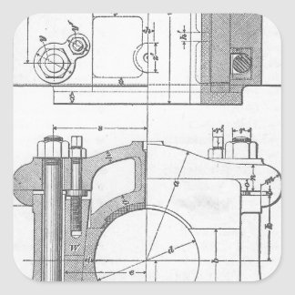 Vintage Industrial Mechanic's Graphic Square Sticker