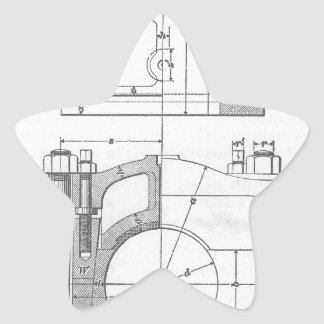 Vintage Industrial Mechanic's Graphic Star Sticker