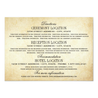 "Vintage Information Cards | Rustic Elegance 4.5"" X 6.25"" Invitation Card"
