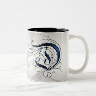 Vintage Initial D Two-Tone Coffee Mug