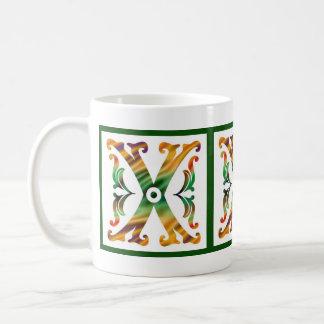 Vintage Initial X - Monogram X Basic White Mug
