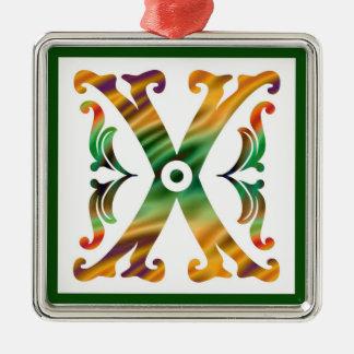 Vintage Initial X - Monogram X Silver-Colored Square Ornament