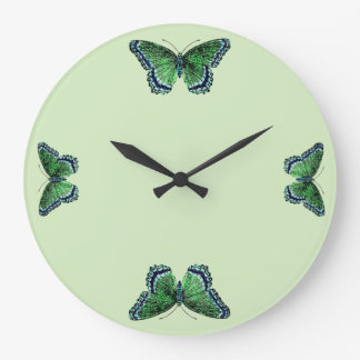 Vintage Insects Green Butterfly Time Entomology Wall Clocks