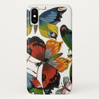 Vintage Insects or Bugs, Beautiful Butterflies iPhone X Case