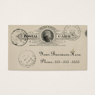 Vintage Inspired Beige Ink Postcard Business Card
