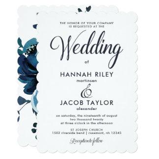 Vintage Inspired Blue Floral Watercolor Wedding Card