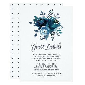 Vintage Inspired Blue Floral Wedding Guest Details Card