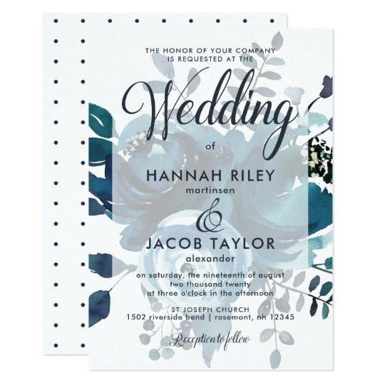 Vintage Inspired Blue Floral with Dots Wedding Card