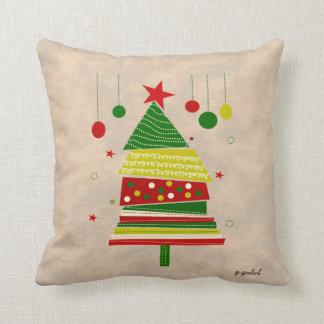 Vintage Inspired Christmas Tree Design Pillow