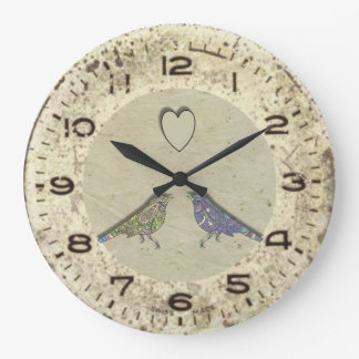 Vintage Inspired Cute Love Birds Wall Clock