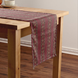 Vintage-Inspired Dark Red Striped Table Runner