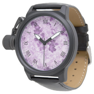 Vintage Inspired Floral Mauve Wristwatches