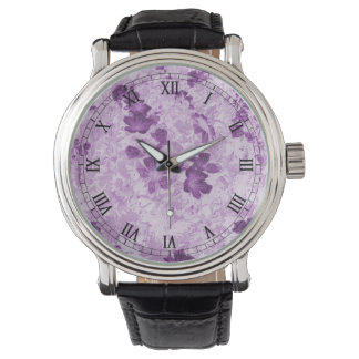 Vintage Inspired Floral Mauve Wrist Watch