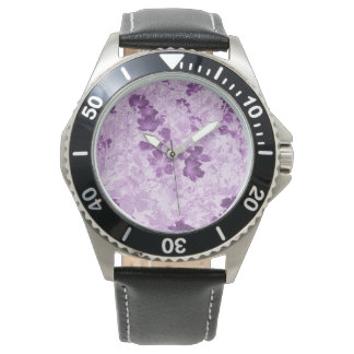 Vintage Inspired Floral Mauve Wrist Watches