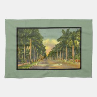 Vintage Inspired Florida Stately Royal Palm Trees Kitchen Towel