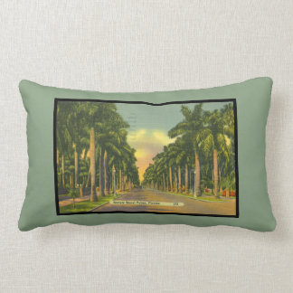 Vintage Inspired Florida Stately Royal Palm Trees Pillow