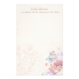 Vintage Inspired Flowers Custom Stationery