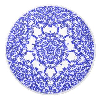 Vintage Inspired Indigo Blue Floral Motif Ceramic Knob