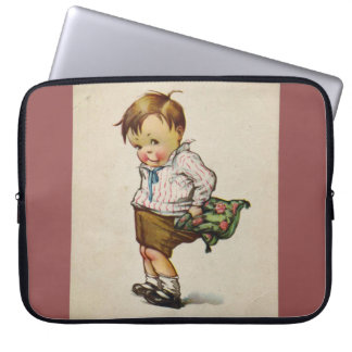 Vintage-Inspired Little Boy in Shorts Laptop Case Laptop Sleeve