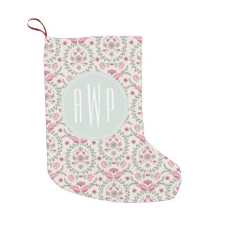 Vintage Inspired Monogram Christmas Stocking Small Christmas Stocking