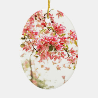 Vintage Inspired Pink and Green Apple Blossoms Ceramic Oval Ornament