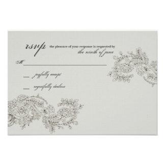 Vintage Inspired RSVP Wedding Response Card Custom Invitation