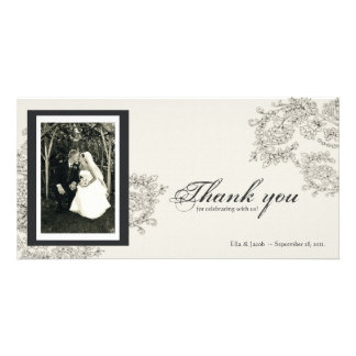Vintage Inspired Thank You Card Personalized Photo Card