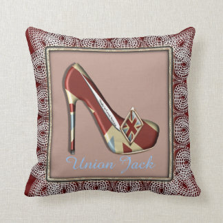 Vintage Inspired Union Jack High Heel Shoe Throw Pillow